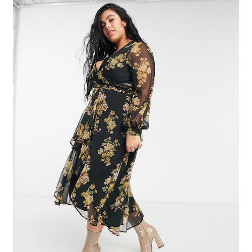 ASOS DESIGN Curve - Robe mi-longue fleurie croisée à la taille avec jupe doublée et manches longues - ASOS Curve - Modalova