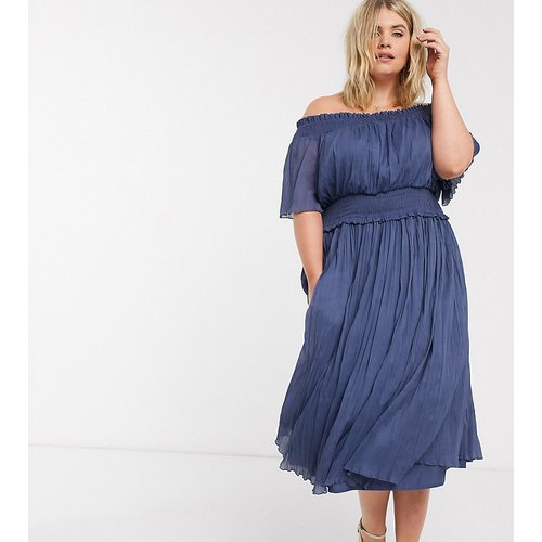 Curve - Robe mi-longue froncée style Bardot - Bleu cendré - ASOS DESIGN - Modalova