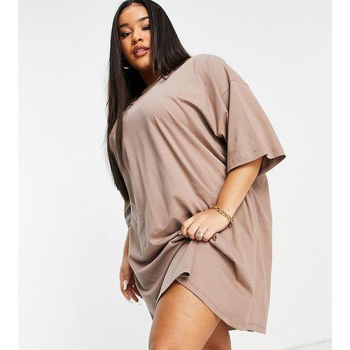 ASOS DESIGN Curve - Robe t-shirt oversize- Vison - ASOS Curve - Modalova