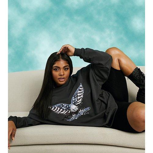 ASOS DESIGN Curve - Sweat-shirt oversize à imprimé aigle - ASOS Curve - Modalova