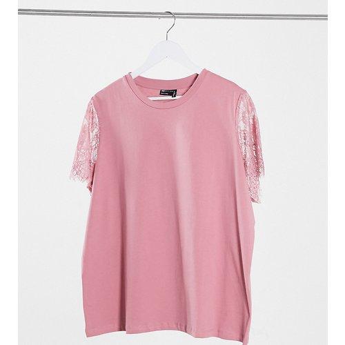 ASOS DESIGN Curve - T-shirt à détails en dentelle aux manches - Vieux - ASOS Curve - Modalova