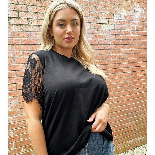 ASOS DESIGN Curve - T-shirt avec manches en dentelle - ASOS Curve - Modalova