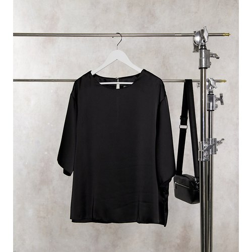 ASOS DESIGN Curve - T-shirt en satin - Noir - ASOS Curve - Modalova
