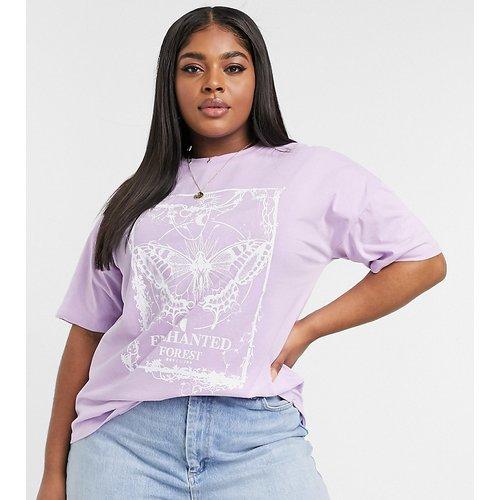 ASOS DESIGN Curve - T-shirt oversize avec imprimé en relief motif papillon mystique - Lilas - ASOS Curve - Modalova
