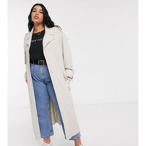 ASOS DESIGN Curve - Trench-coat luxueux oversize imitation lin - Crème - ASOS Curve - Modalova
