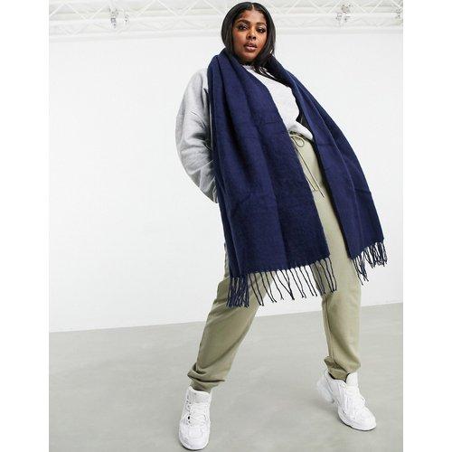 Écharpe longue tissée ultra douce à franges - Bleu marine - ASOS DESIGN - Modalova