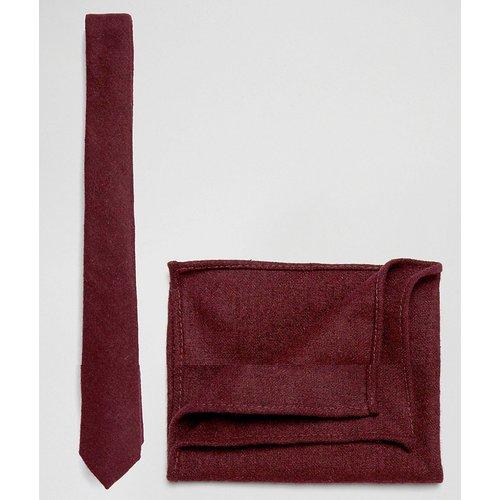Ensemble cravate et pochette au fini texturé - Bordeaux - ASOS DESIGN - Modalova