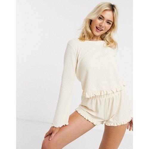 Ensemble de pyjama avec t-shirt à manches longues gaufré et short - ASOS DESIGN - Modalova