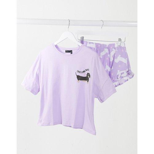 Ensemble de pyjama avec t-shirt et short motif teckel - Lilas - ASOS DESIGN - Modalova