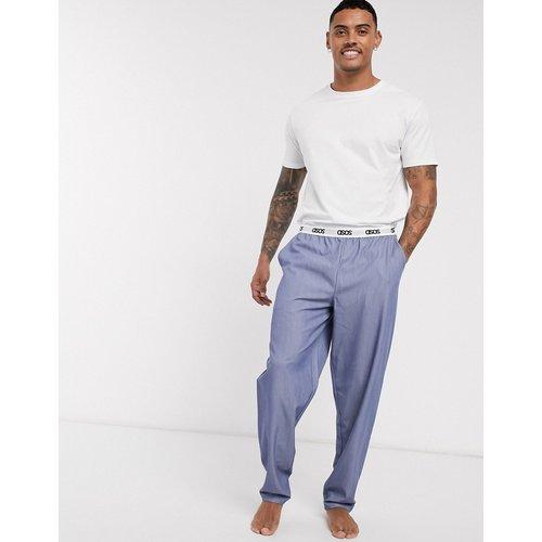 Ensemble pyjama confort avec t-shirt et pantalon tissé à ceinture griffée - Bleu clair - ASOS DESIGN - Modalova