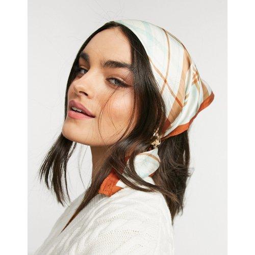 Foulard de taille moyenne en polysatin à carreaux et bord contrastant - Vert - ASOS DESIGN - Modalova
