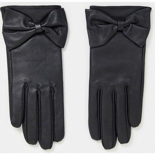 Gants en cuir pour écran tactile à détail nœud - ASOS DESIGN - Modalova