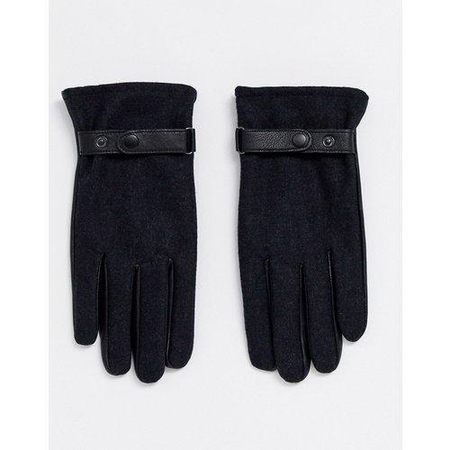 Gants en cuir pour écran tactile avec empiècement anthracite - Noir - ASOS DESIGN - Modalova