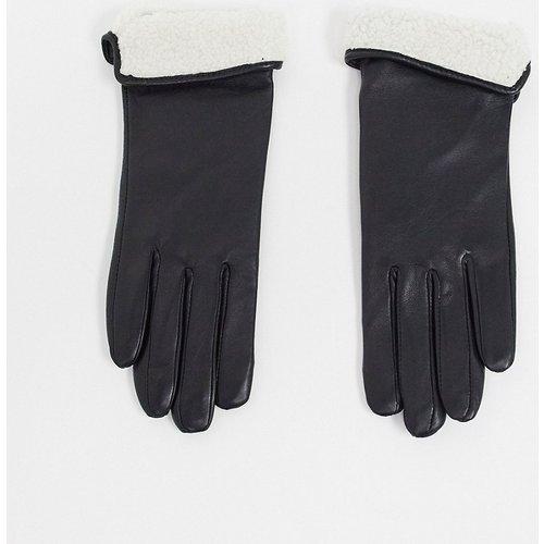 Gants en cuir pour écran tactile avec revers imitation peau de mouton - ASOS DESIGN - Modalova