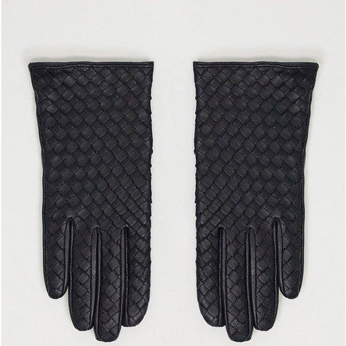 Gants en cuir tressé pour écran tactile - ASOS DESIGN - Modalova