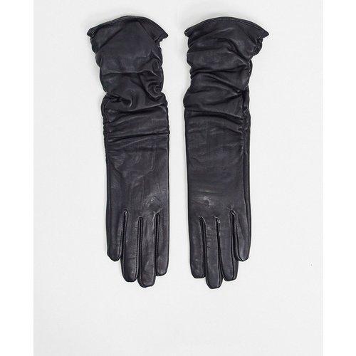 Gants longs froncés en cuir pour écran tactile - ASOS DESIGN - Modalova