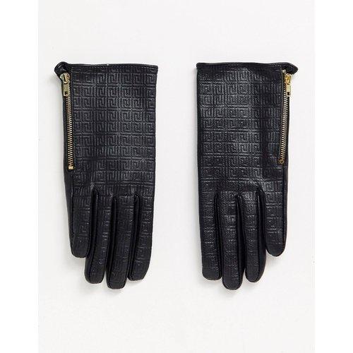 Gants pour écran tactile en cuir avec imprimé monogramme - ASOS DESIGN - Modalova