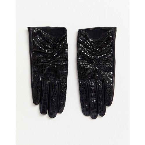 Gants pour écran tactile en cuir et vinyle effet croco - ASOS DESIGN - Modalova