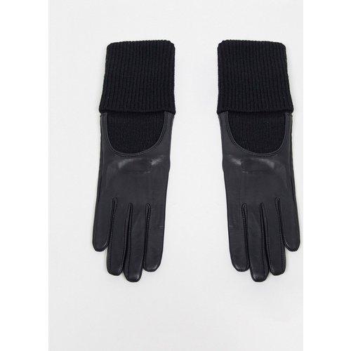 Gants tactiles en cuir avec longue bordure en maille côtelée - ASOS DESIGN - Modalova