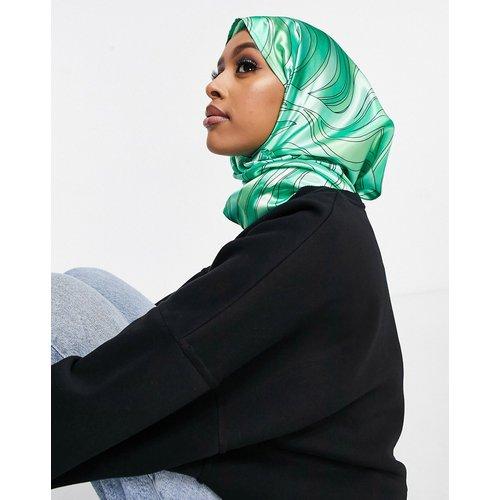 Grand foulard en polyester de satin à imprimé marbré - ASOS DESIGN - Modalova