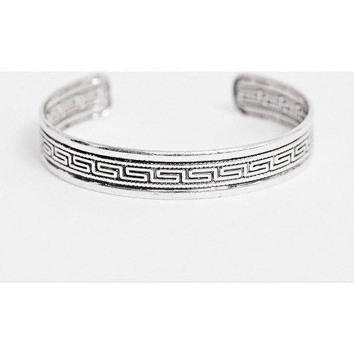 Gros bracelet à motif frise en relief - Argent poli - ASOS DESIGN - Modalova