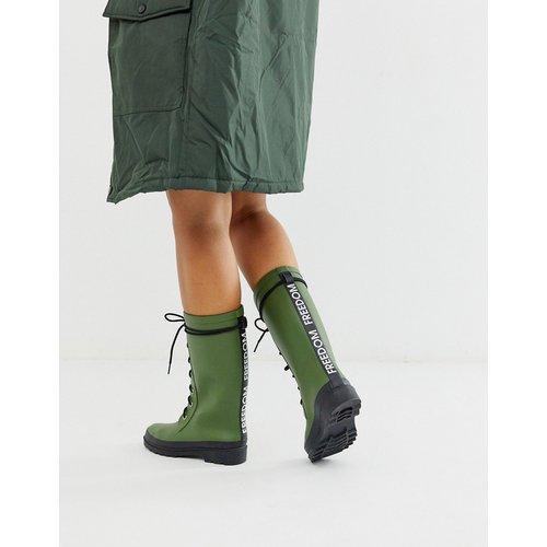 Ground - Grosses bottes de pluie à lacets - Kaki - ASOS DESIGN - Modalova