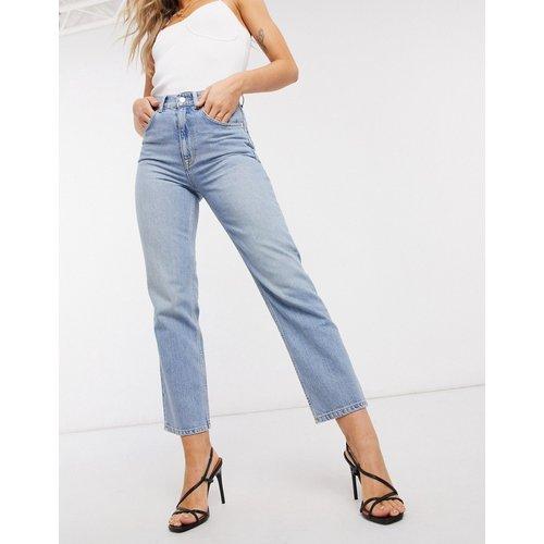 Jean droit slim taille haute en denim stretch - Délavage clair - ASOS DESIGN - Modalova
