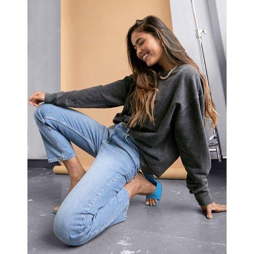 Jean droit slim taille haute en denim stretch - Délavage clair vintage - ASOS DESIGN - Modalova