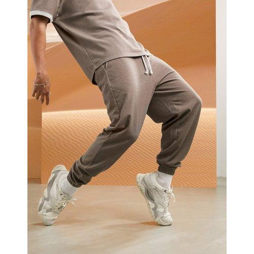 Jogger oversize en tissu gaufré à ceinture contrastante - et crème (ensemble) - ASOS DESIGN - Modalova
