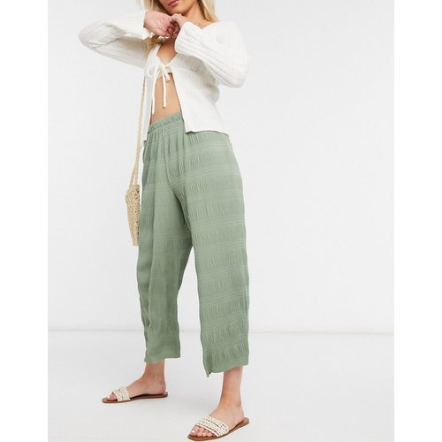 Jupe-culotte plissée à effet texturé- Kaki pâle - ASOS DESIGN - Modalova