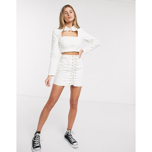 Jupe d'ensemble style corset en jean avec laçage - ASOS DESIGN - Modalova