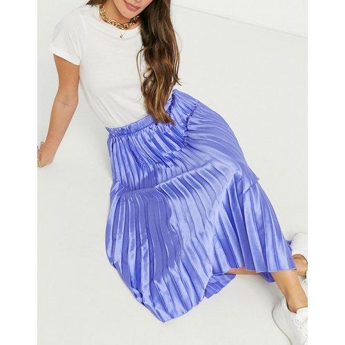 Jupe mi-longue droite en satin plissé - Bleu - ASOS DESIGN - Modalova