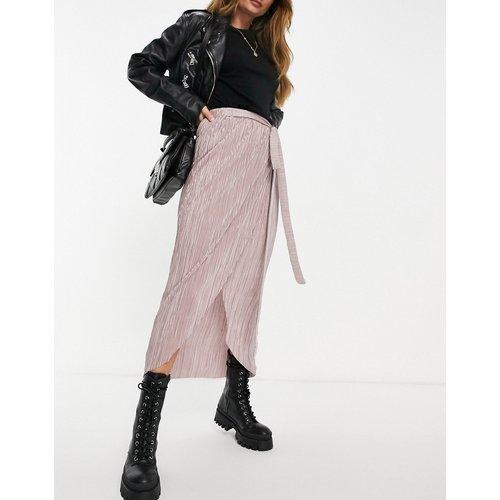 Jupe mi-longue portefeuille plissée avec ceinture - ASOS DESIGN - Modalova