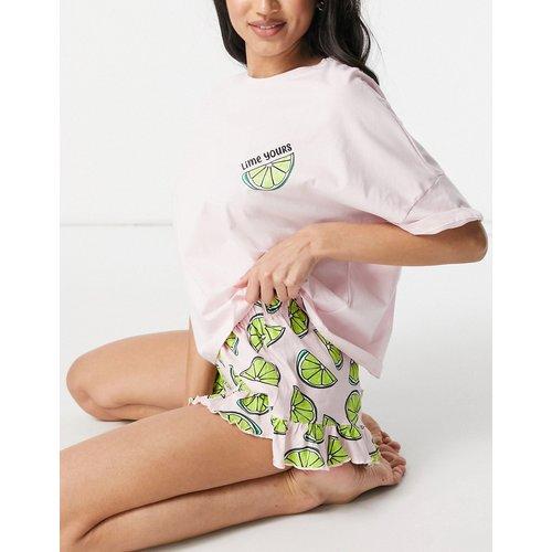 Lime Yours - Ensemble T-shirt et short à volants - ASOS DESIGN - Modalova