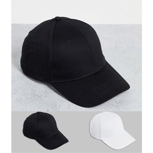 Lot de 2 casquettes de baseball en coton - Noir et blanc - ASOS DESIGN - Modalova