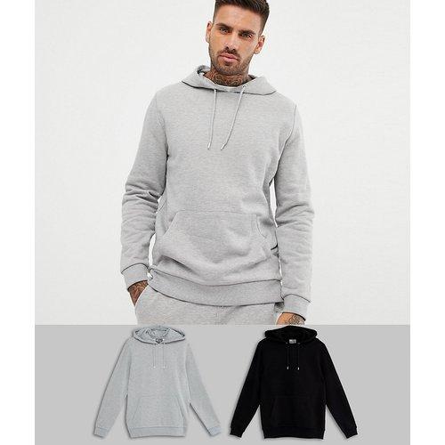 Lot de 2 hoodies - Noir/gris chiné - ASOS DESIGN - Modalova