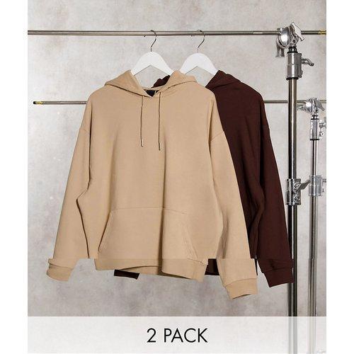 Lot de 2 hoodies oversize - Beige / marron - ASOS DESIGN - Modalova