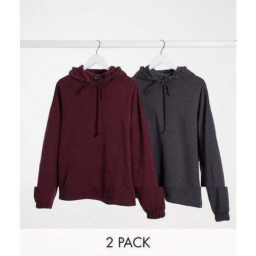 Lot de 2 hoodies oversize délavés - Noir/bordeaux - ASOS DESIGN - Modalova