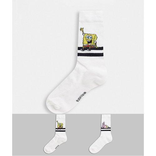 Lot de 2 paires de chaussettes de sport à rayures noires avec motifs Bob l'Éponge et Patrick - ASOS DESIGN - Modalova
