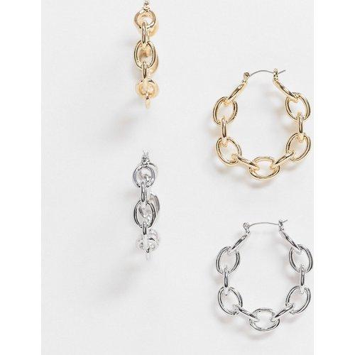 Lot de 2 paires de créoles ouvertes à maillons minimalistes - Doré et argenté - ASOS DESIGN - Modalova