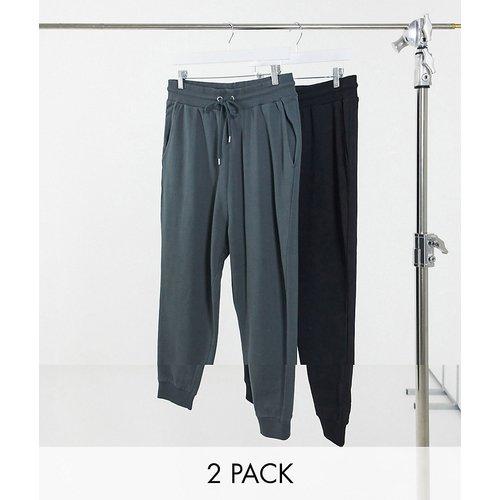 Lot de 2 pantalons de jogging à entrejambe bas - Noir/Noir délavé - ÉCONOMIE - ASOS DESIGN - Modalova