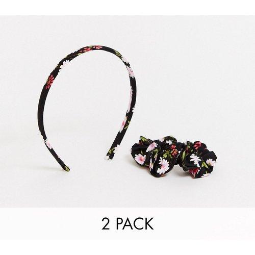 Lot de 2 pièces avec serre-tête et chouchou à imprimé marguerites - ASOS DESIGN - Modalova