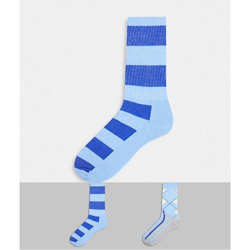 Lot de 2paires de chaussettes à motifs losanges et rayures - ASOS DESIGN - Modalova