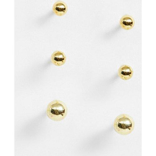 Lot de 3 boucles d'oreilles en argent massif plaqué or effet dégradé - ASOS DESIGN - Modalova