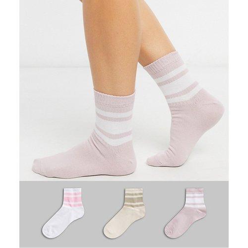 Lot de 3 chaussettes à rayures - Neutre - ASOS DESIGN - Modalova