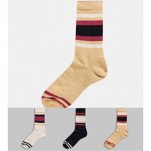 Lot de 3 chaussettes de sport à rayures - Crème et bordeaux - ASOS DESIGN - Modalova