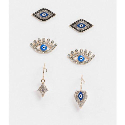 Lot de 3 paires de boucles d'oreilles avec œil et créoles à breloques - ASOS DESIGN - Modalova