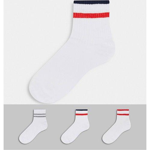 Lot de 3 paires de chaussettes à rayures - Rouge, gris et bleu - ASOS DESIGN - Modalova