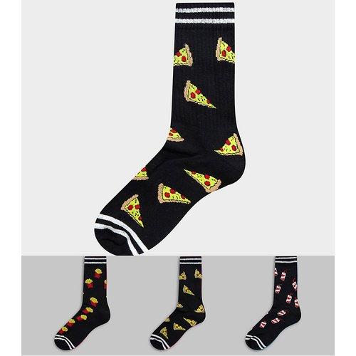 Lot de 3 paires de chaussettes de sport à motif fast-food - ASOS DESIGN - Modalova