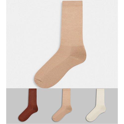Lot de 3 paires de chaussettes hautes- Tons neutres - ASOS DESIGN - Modalova